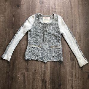Anthro Cartonnier Ivory Metallic Tweed Jacket